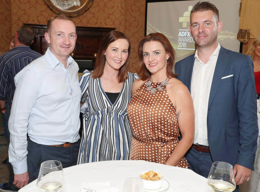 Jim Geraghty-Heineken, Anna Doyle-Starcom, Christine Matthews-News Ireland, Karl Kavanagh-News Ireland pictured as the shortlisted entries for the biennial IAPI ADFX Awards were unveiled at an exclusive event in The Shelbourne Hotel. Picture: Marc O'Sullivan