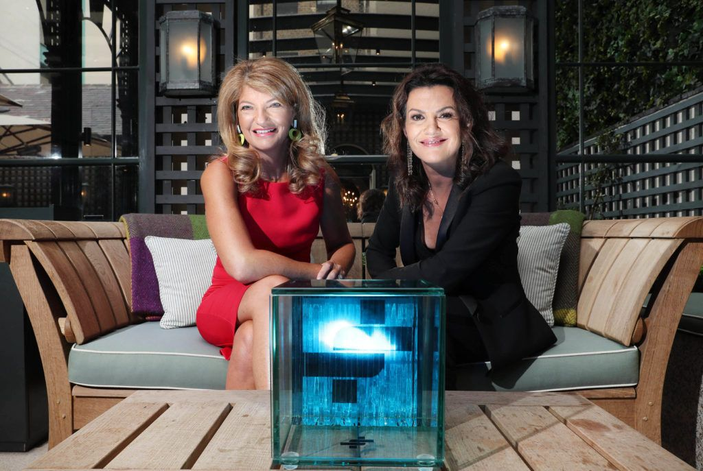 Pictured is Deirdre O'Kane, Guest MC for the 2018 ADFX Awards alongside IAPI CEO Charley Stoney as the shortlisted entries for the biennial IAPI ADFX Awards were unveiled at an exclusive event in The Shelbourne Hotel. Picture: Marc O'Sullivan
