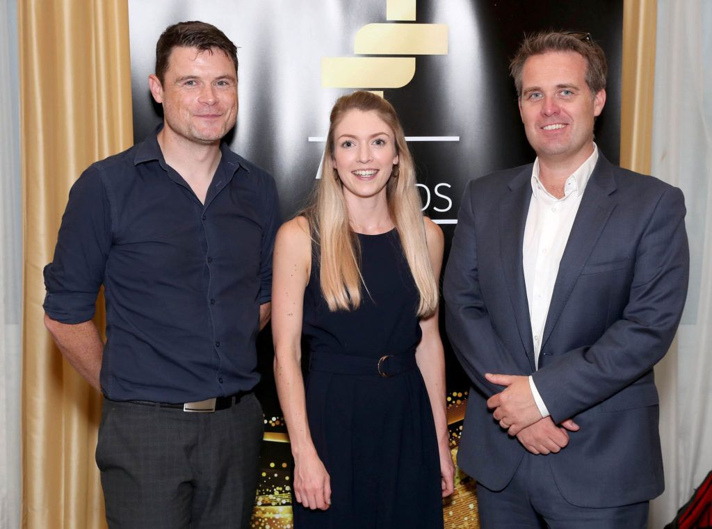 James Byrne - PML Group, Geoff Lyons - PML Group, Orla Reaper-Reynolds - Starcom pictured as the shortlisted entries for the biennial IAPI ADFX Awards were unveiled at an exclusive event in The Shelbourne Hotel. Picture: Marc O'Sullivan