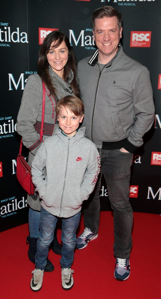 Tracey Sheridan, Dave Moore and Andrew Moore at the opening night of the musical Matilda at The Bord Gais Energy Theatre, Dublin. Photo: Brian McEvoy