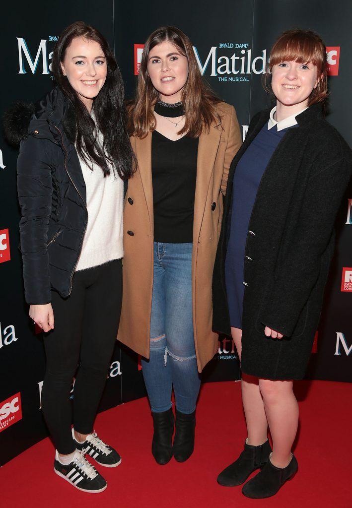 Aine Hanlon, Jenny Moloney and Ciara Murray at the opening night of the musical Matilda at The Bord Gais Energy Theatre, Dublin. Photo: Brian McEvoy