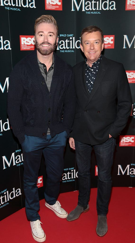 Karl Broderick and Alan Hughes at the opening night of the musical Matilda at The Bord Gais Energy Theatre, Dublin. Photo: Brian McEvoy