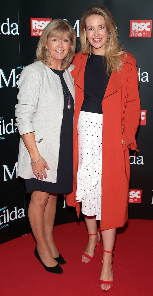 Clare Garrihy and Aoibhin Garrihy at the opening night of the musical Matilda at The Bord Gais Energy Theatre, Dublin. Photo: Brian McEvoy