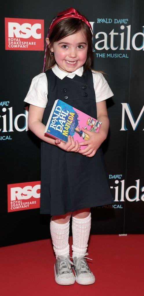 Matilda Mayman at the opening night of the musical Matilda at The Bord Gais Energy Theatre, Dublin. Photo: Brian McEvoy