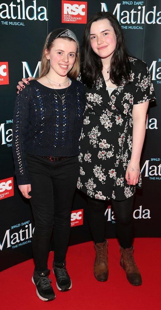 Eimear Bradley and Eva Kearney at the opening night of the musical Matilda at The Bord Gais Energy Theatre, Dublin. Photo: Brian McEvoy