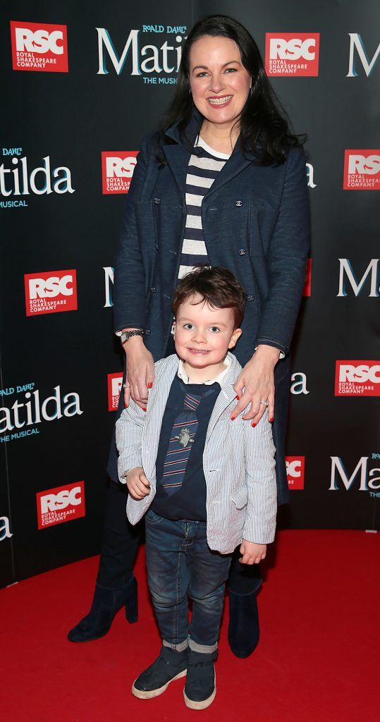 Triona McCarthy and son Max White at the opening night of the musical Matilda at The Bord Gais Energy Theatre, Dublin. Photo: Brian McEvoy