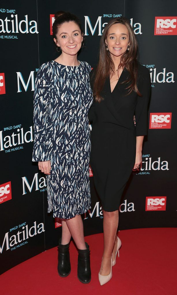 Claire Mullane and Claire Whelan at the opening night of the musical Matilda at The Bord Gais Energy Theatre, Dublin. Photo: Brian McEvoy