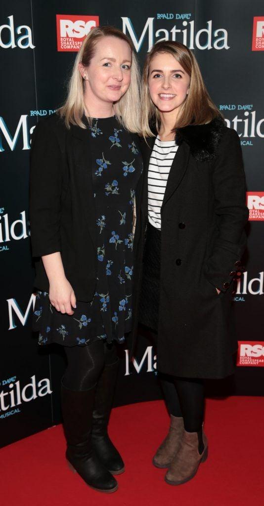 Caroline Shaw and Aislinn Shaw at the opening night of the musical Matilda at The Bord Gais Energy Theatre, Dublin. Photo: Brian McEvoy