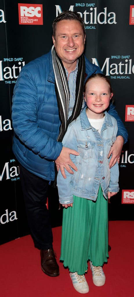 Shay Byrne and Katie Byrne at the opening night of the musical Matilda at The Bord Gais Energy Theatre, Dublin. Photo: Brian McEvoy