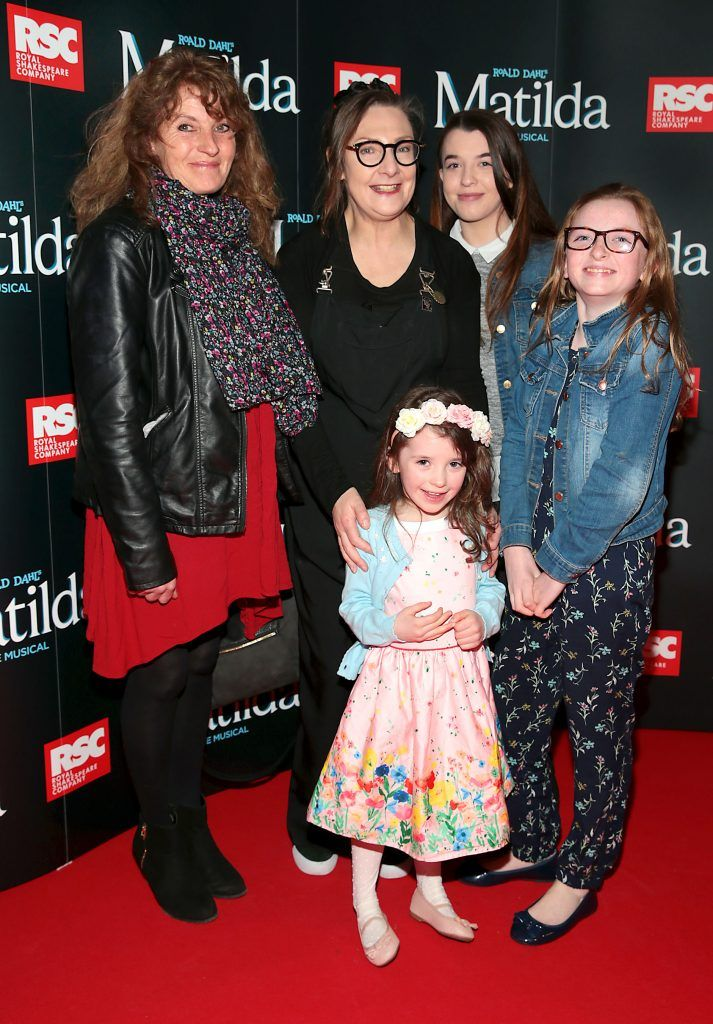 Susan Anderson, Pauline Mclynn Megan Anderson, Sophia Anderson and Chloe Anderson at the opening night of the musical Matilda at The Bord Gais Energy Theatre, Dublin. Photo: Brian McEvoy