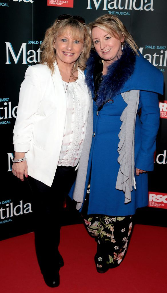 Joy Donoghue and Rebecca Storm at the opening night of the musical Matilda at The Bord Gais Energy Theatre, Dublin. Photo: Brian McEvoy