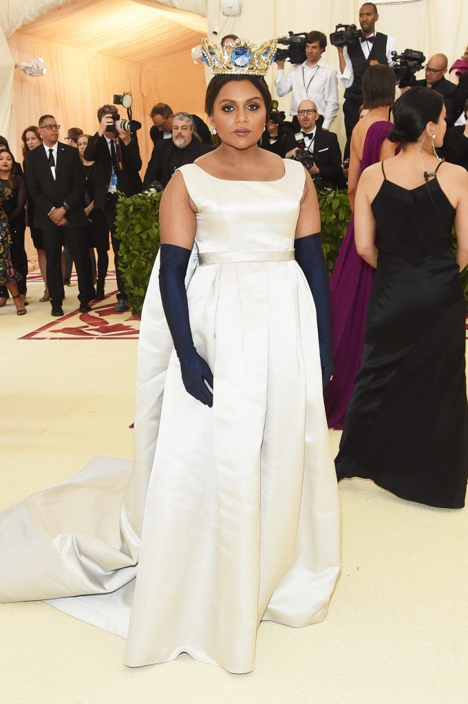 NEW YORK, NY - MAY 07:  Mindy Kaling attends the Heavenly Bodies: Fashion & The Catholic Imagination Costume Institute Gala at The Metropolitan Museum of Art on May 7, 2018 in New York City.  (Photo by Jamie McCarthy/Getty Images)