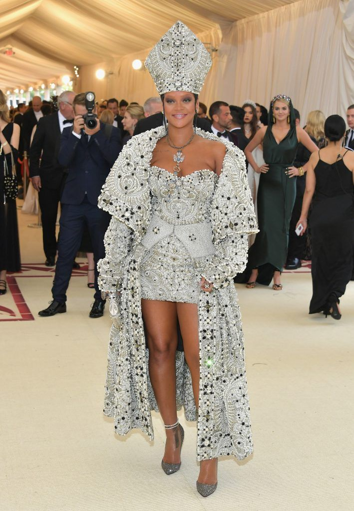 NEW YORK, NY - MAY 07:  Rihanna attends the Heavenly Bodies: Fashion & The Catholic Imagination Costume Institute Gala at The Metropolitan Museum of Art on May 7, 2018 in New York City.  (Photo by Neilson Barnard/Getty Images)