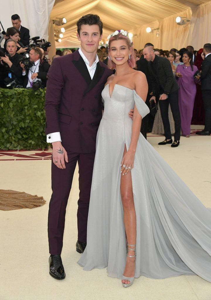 NEW YORK, NY - MAY 07:  Shawn Mendes and Hailey Baldwin attend the Heavenly Bodies: Fashion & The Catholic Imagination Costume Institute Gala at The Metropolitan Museum of Art on May 7, 2018 in New York City.  (Photo by Neilson Barnard/Getty Images)