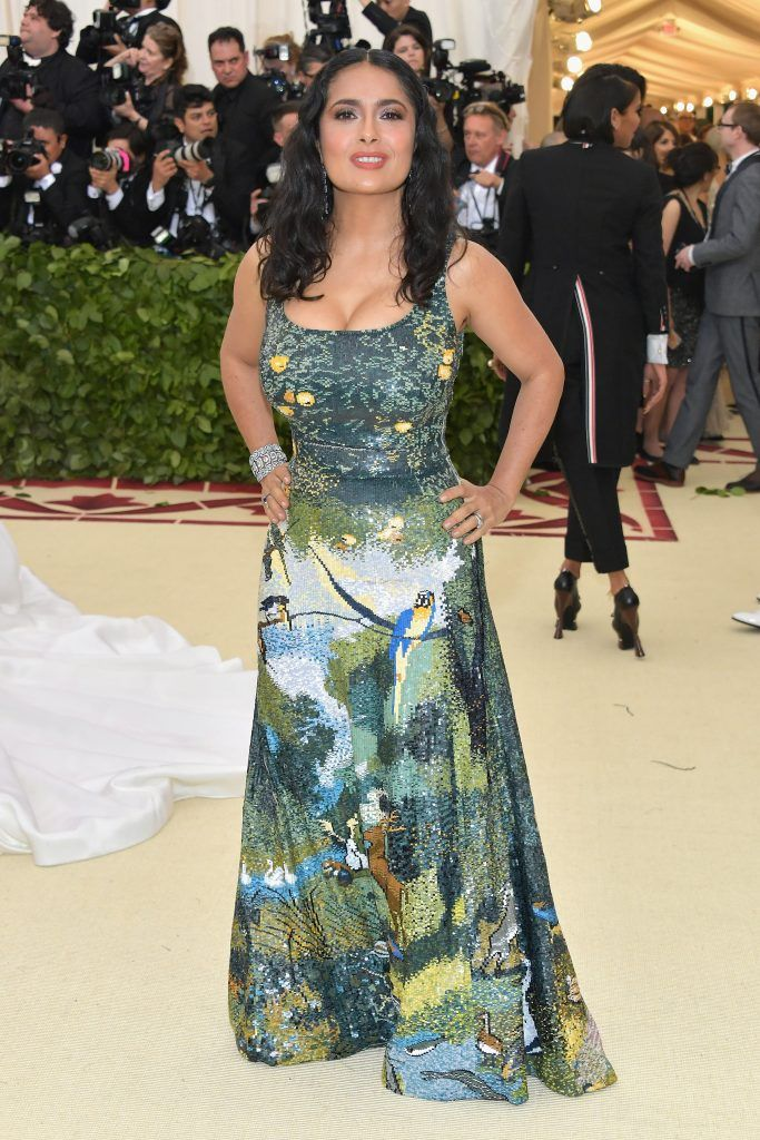 NEW YORK, NY - MAY 07:  Salma Hayek attends the Heavenly Bodies: Fashion & The Catholic Imagination Costume Institute Gala at The Metropolitan Museum of Art on May 7, 2018 in New York City.  (Photo by Neilson Barnard/Getty Images)