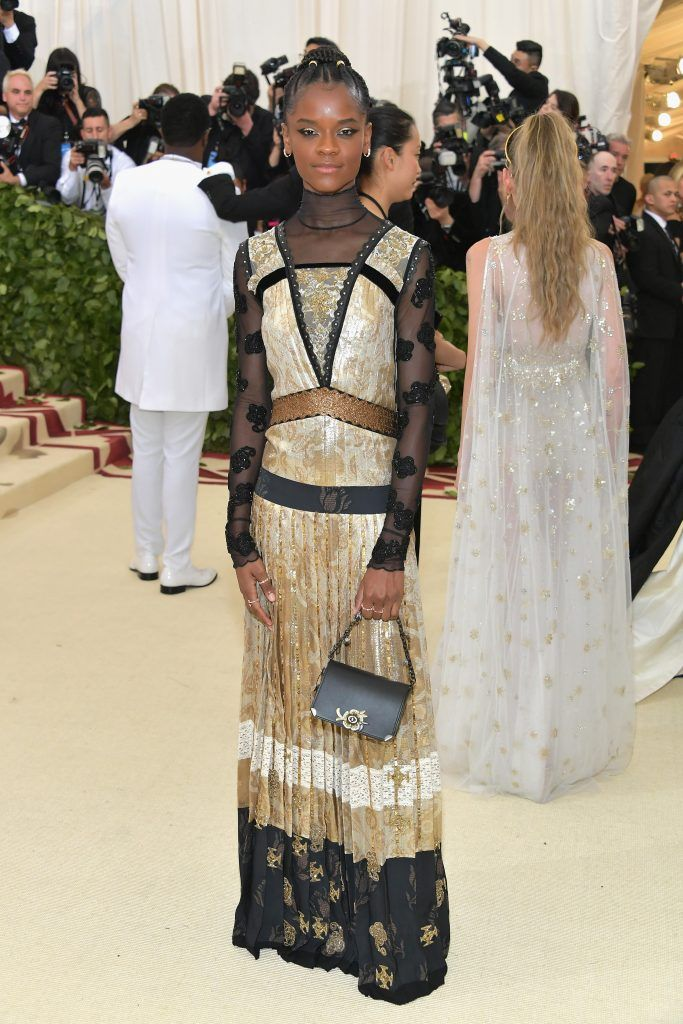 NEW YORK, NY - MAY 07:  Letitia Wright attends the Heavenly Bodies: Fashion & The Catholic Imagination Costume Institute Gala at The Metropolitan Museum of Art on May 7, 2018 in New York City.  (Photo by Neilson Barnard/Getty Images)