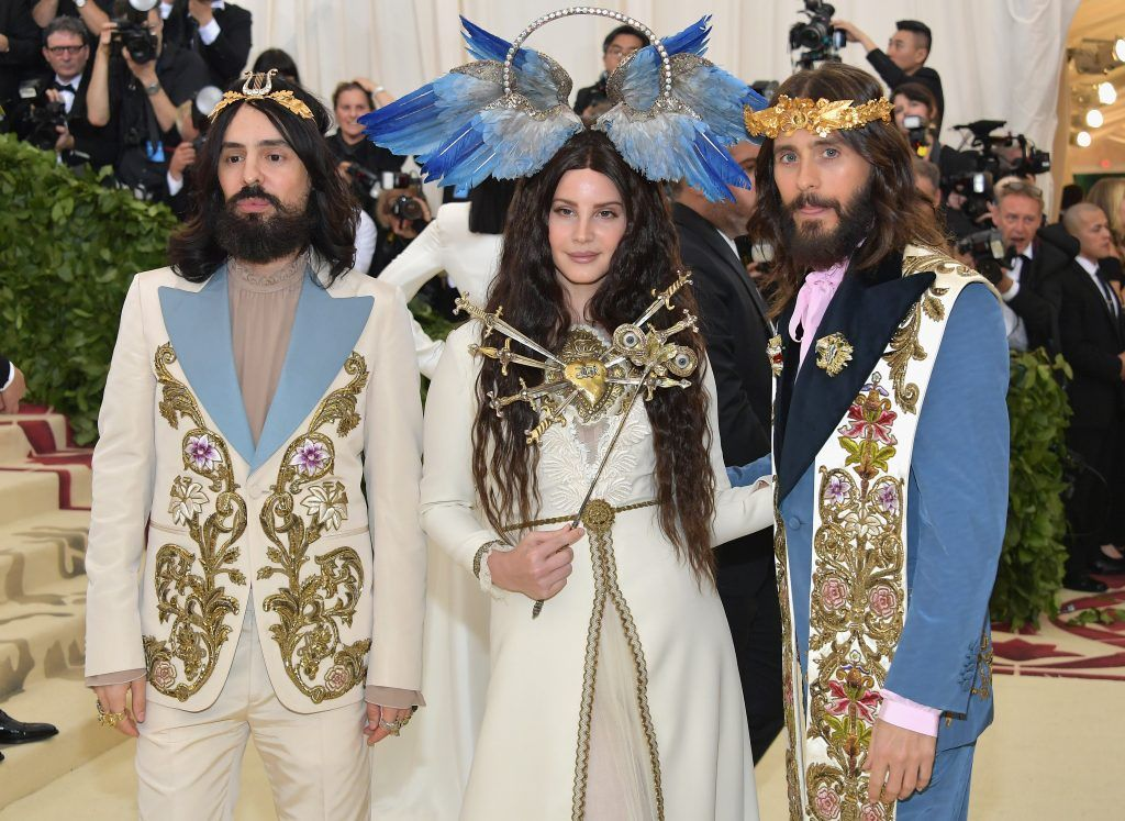 NEW YORK, NY - MAY 07:  (L-R) Alessandro Michele, Lana Del Rey, and Jared Leto attend the Heavenly Bodies: Fashion & The Catholic Imagination Costume Institute Gala at The Metropolitan Museum of Art on May 7, 2018 in New York City.  (Photo by Neilson Barnard/Getty Images)