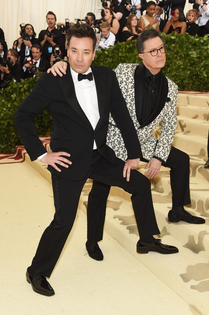 NEW YORK, NY - MAY 07:  Jimmy Fallon and Stephen Colbert attend the Heavenly Bodies: Fashion & The Catholic Imagination Costume Institute Gala at The Metropolitan Museum of Art on May 7, 2018 in New York City.  (Photo by Jamie McCarthy/Getty Images)