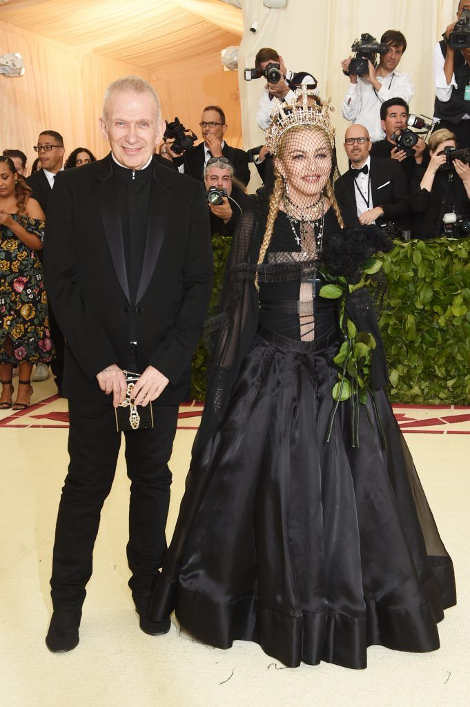 NEW YORK, NY - MAY 07:  Jean Paul Gaultier and Madonna attend the Heavenly Bodies: Fashion & The Catholic Imagination Costume Institute Gala at The Metropolitan Museum of Art on May 7, 2018 in New York City.  (Photo by Jamie McCarthy/Getty Images)