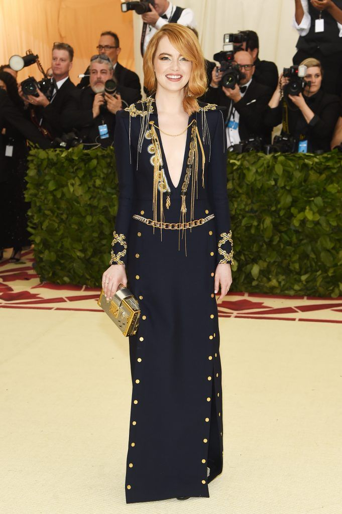 NEW YORK, NY - MAY 07:  Emma Stone attends the Heavenly Bodies: Fashion & The Catholic Imagination Costume Institute Gala at The Metropolitan Museum of Art on May 7, 2018 in New York City.  (Photo by Jamie McCarthy/Getty Images)