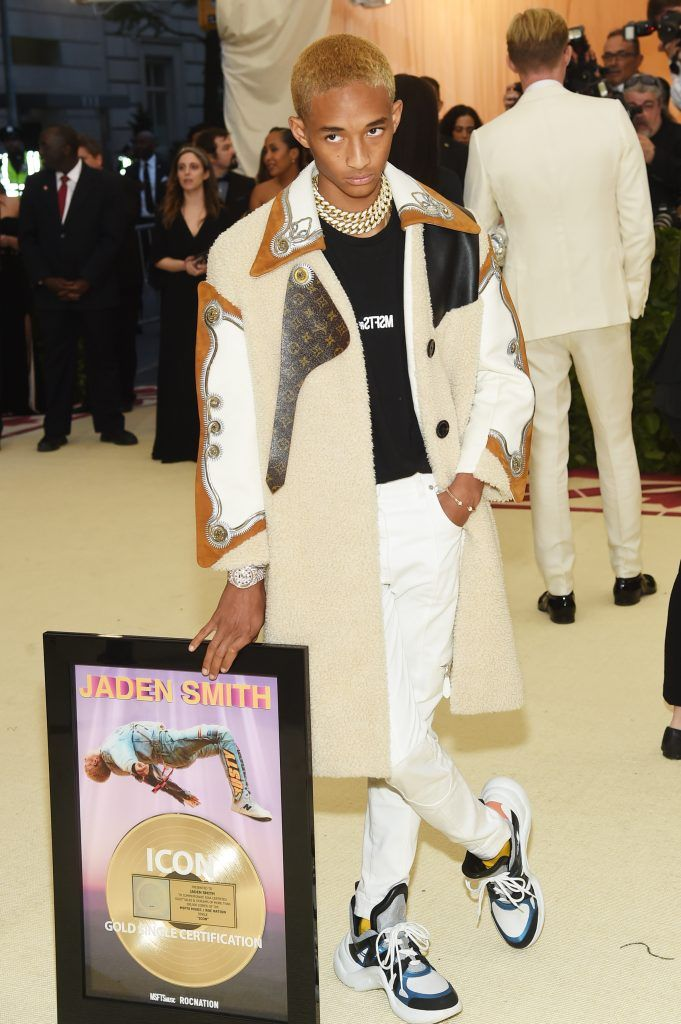 NEW YORK, NY - MAY 07:  Jaden Smith attends the Heavenly Bodies: Fashion & The Catholic Imagination Costume Institute Gala at The Metropolitan Museum of Art on May 7, 2018 in New York City.  (Photo by Jamie McCarthy/Getty Images)