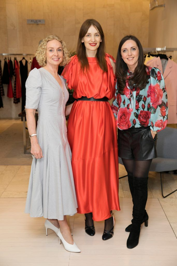 Anne O'Leary, Roksanda Ilincic and Michelle Curtin pictured as fashion designer Roksanda Ilincic previewed her stunning new Pre-Fall 2018 collection in The Designer Rooms. Photo: Ailbhe O'Donnell