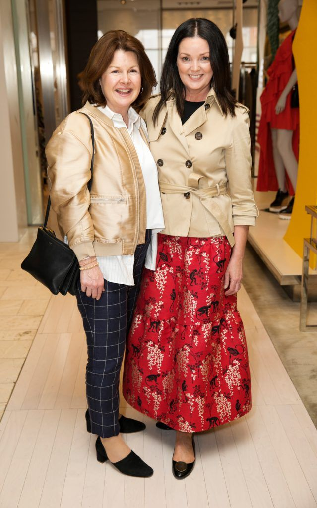 Mirette Hanley and Geraldine Greene pictured as fashion designer Roksanda Ilincic previewed her stunning new Pre-Fall 2018 collection in The Designer Rooms. Photo: Ailbhe O'Donnell