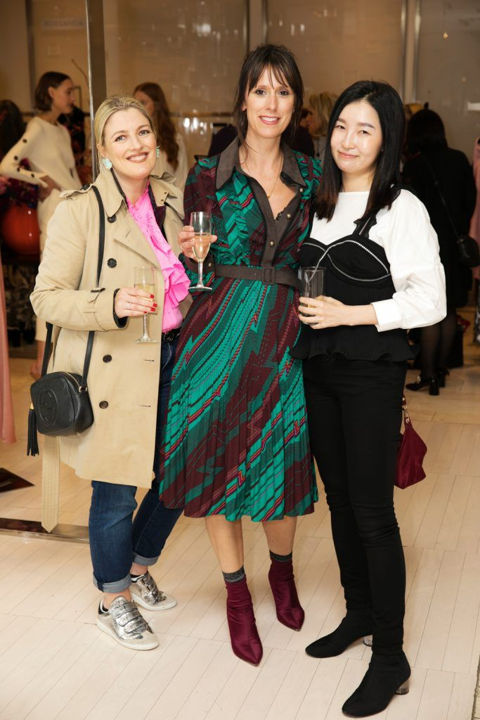 Sunniva Barrett, Julie Heaney and Sunni Kim pictured as fashion designer Roksanda Ilincic previewed her stunning new Pre-Fall 2018 collection in The Designer Rooms. Photo: Ailbhe O'Donnell