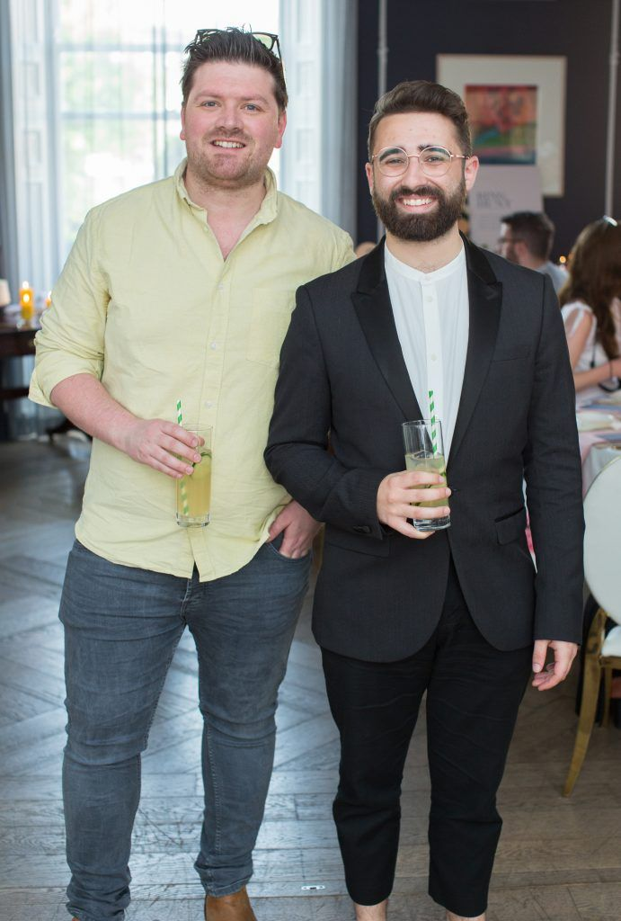 Thomas Crosse & Conor Merriman pictured at the Primark Bridal Brunch to celebrate the Royal Wedding at 25 Fitzwilliam Place. Photo: Anthony Woods