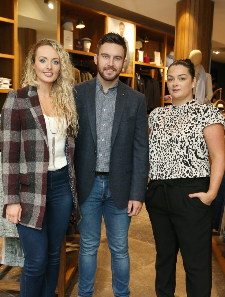 Marion Mulhern,Killian Casey and Sabrina Molloy pictured at the launch of the Magee 1866 autumn/winter collection at Magee of South Anne Street, Dublin 2. Photo: Leon Farrell