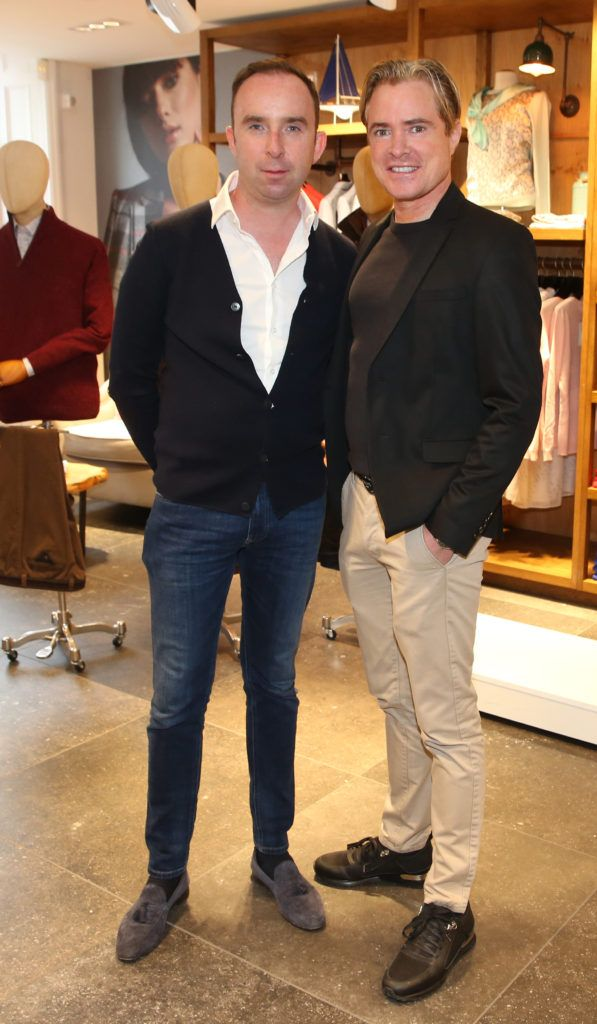 Richard Kavanagh and  PJ Gibbons pictured at the launch of the Magee 1866 autumn/winter collection at Magee of South Anne Street, Dublin 2. Photo: Leon Farrell