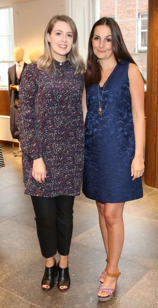 Aisling McGee and Laura Harron pictured at the launch of the Magee 1866 autumn/winter collection at Magee of South Anne Street, Dublin 2. Photo: Leon Farrell