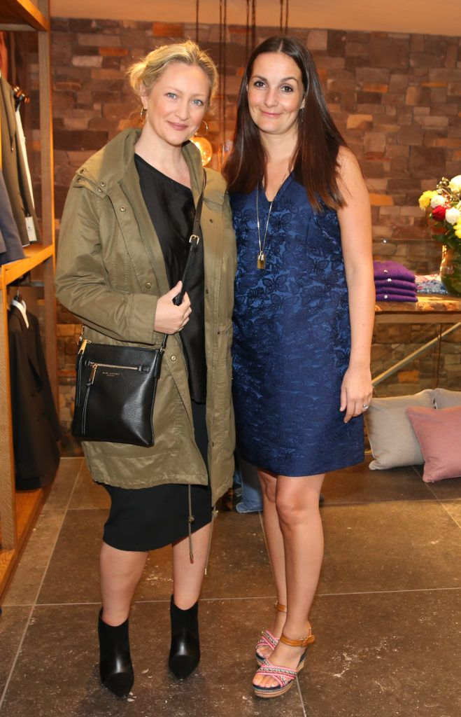 Sinead Keenan and Laura Harron pictured at the launch of the Magee 1866 autumn/winter collection at Magee of South Anne Street, Dublin 2. Photo: Leon Farrell
