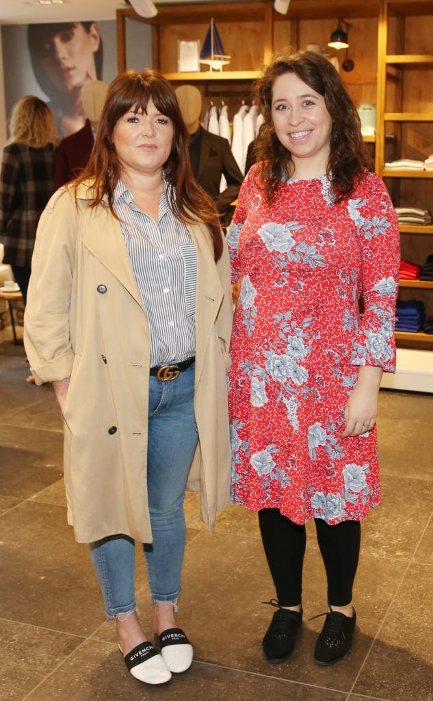 Tamun Rooney and Joanne Carley pictured at the launch of the Magee 1866 autumn/winter collection at Magee of South Anne Street, Dublin 2. Photo: Leon Farrell