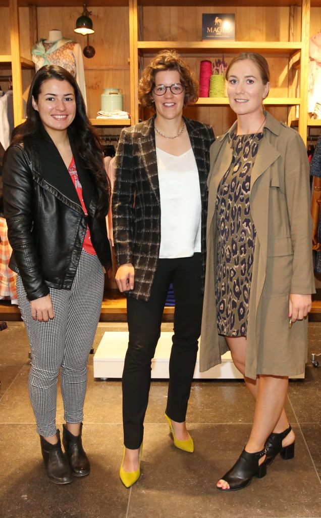 Tracey Donaghan ,Rosy Temple and Kate Devereux pictured at the launch of the Magee 1866 autumn/winter collection at Magee of South Anne Street, Dublin 2. Photo: Leon Farrell