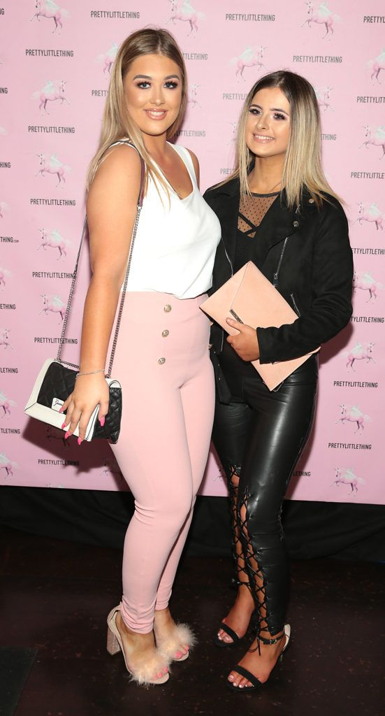 Tia Duffy and Kara Nugent  at the Pretty Little Thing Summer Party at Zozimus, Dublin. Picture: Brian McEvoy