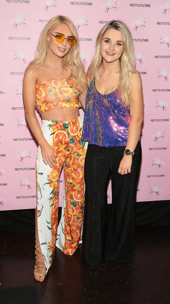 Ciara Decartaret and Sian McQuillan at the Pretty Little Thing Summer Party at Zozimus, Dublin. Picture: Brian McEvoy