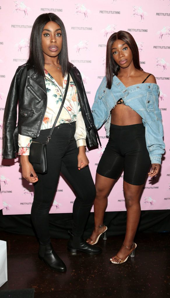 Stephanie Mordi and Yewande Biola at the Pretty Little Thing Summer Party at Zozimus, Dublin. Picture: Brian McEvoy