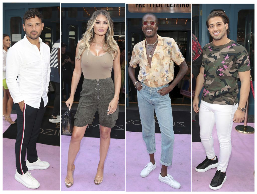 Ryan Thomas,Chloe Sims,Vas Morgan and Kem Centinay at the Pretty Little Thing Summer Party at Zozimus, Dublin. Picture: Brian McEvoy