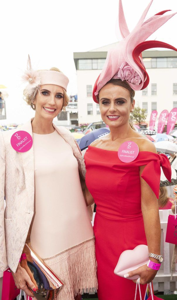 Mairin Garry and Tasha o Connor top 10 finalists pictured at The G Hotel best dressed at the Galway races. Photo: Andrew Downes