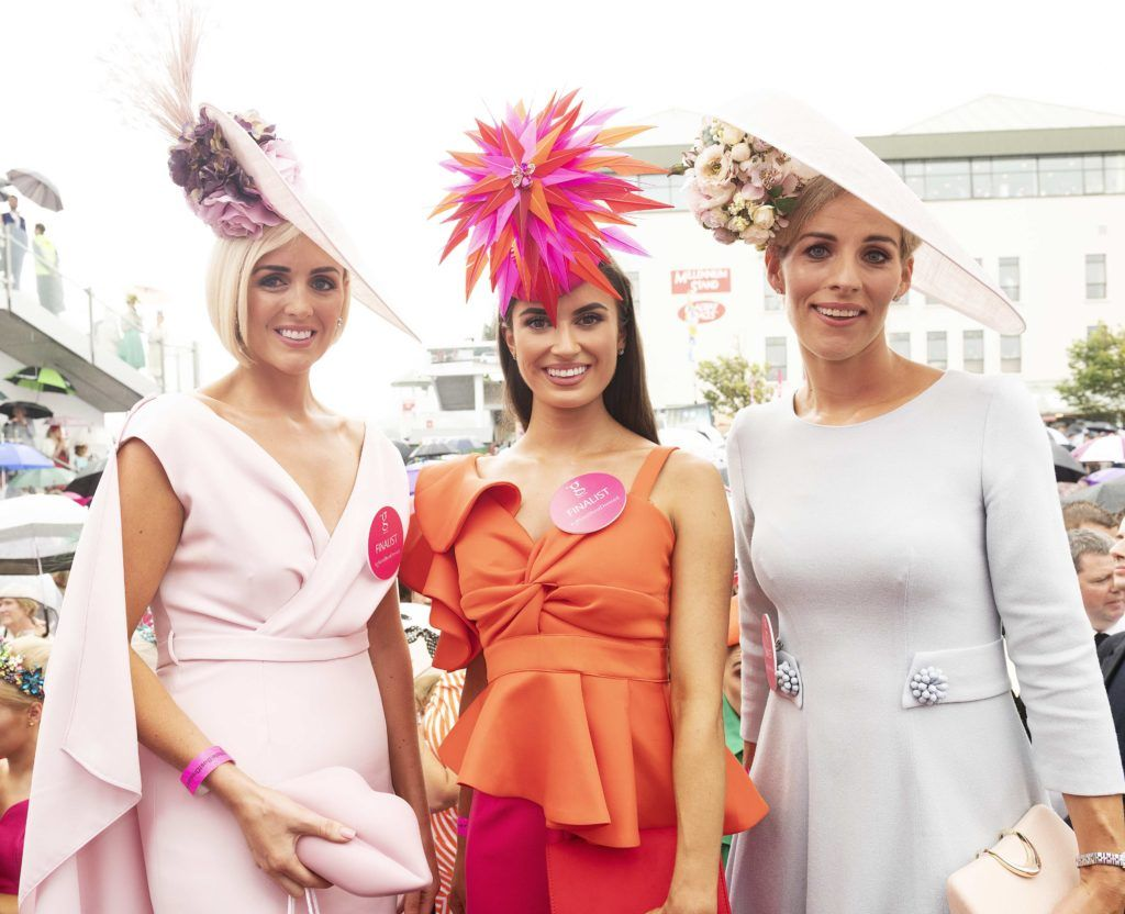 Aoife O'Sullivan, Niamh O Doherty, West and Charlene Byers top 10 finalists pictured at The G Hotel best dressed at the Galway races. Photo: Andrew Downes