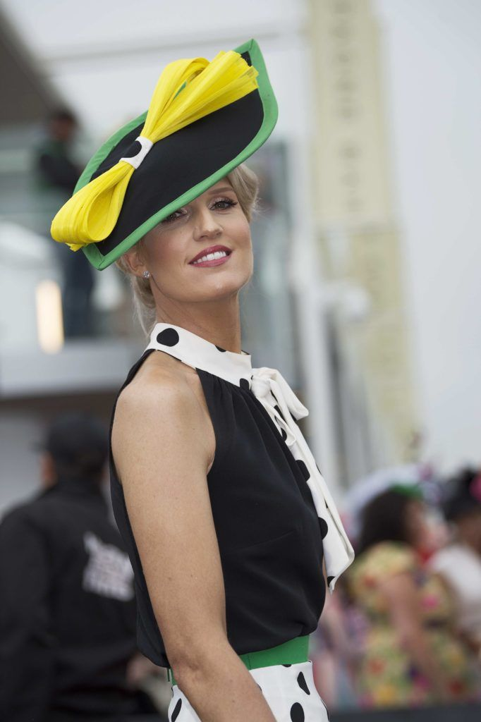 Fiona Morgan Coleman Shurle pictured at The G Hotel best dressed at the Galway races. Photo: Andrew Downes