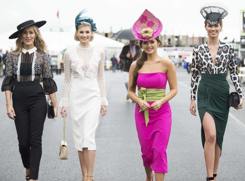 Mary Lee, Katie Geoghegan ,Designer Jennifer Wyrnne Milliner and Eliska McAndrew pictured at The G Hotel best dressed at the Galway races. Photo: Andrew Downes