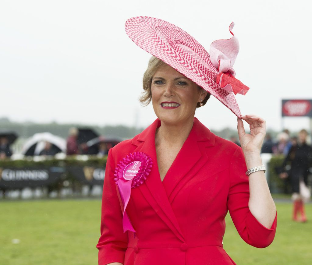 Moira O'Toole was named winner of the best hat at The G Hotel best dressed at the Galway races. Photo: Andrew Downes