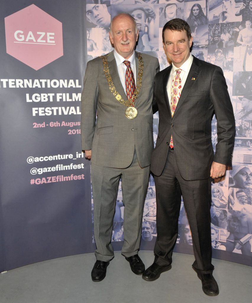 Lord Mayor of Dublin Nial Ring and  Australian Ambassador to Ireland Richard Andrews  Pictured at the opening night of the GAZE Film Festival in Light House Cinema. Photos: Patrick O'Leary