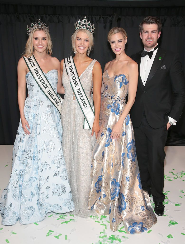 Miss Universe Ireland 2017 Cailin Aine Ni Toibin, MUi Managing Director Brittany Mason and Steven Patch with  Miss Universe Donegal Grainne Gallanagh who was crowned winner of Miss Universe Ireland 2018 at the final of Miss Universe Ireland 2018 at the Round Room of Dublin's Mansion House. Picture: Brian McEvoy.