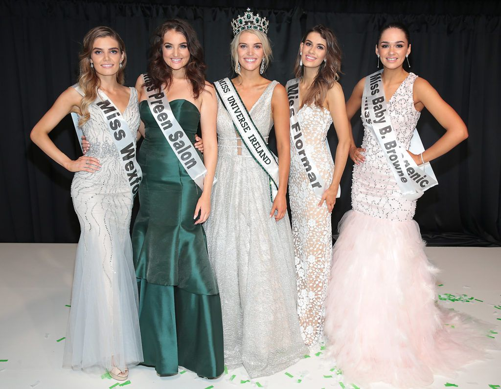 Miss Universe Donegal Grainne Gallanagh who was crowned winner of Miss Universe Ireland 2018 (Centre) with runners-up at the final of Miss Universe Ireland 2018 at the Round Room of Dublin's Mansion House. Picture: Brian McEvoy.