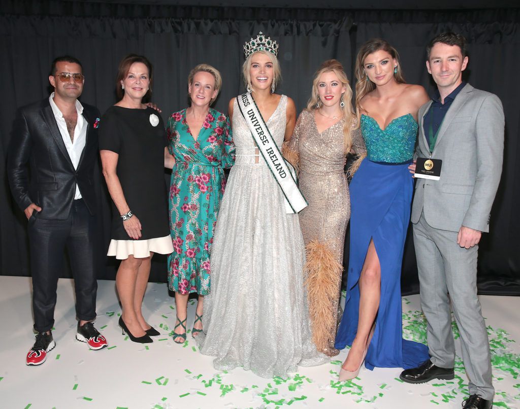 Miss Universe Ireland 2018 Judges with  Miss Universe Donegal Grainne Gallanagh who was crowned winner of Miss Universe Ireland 2018 at the final of Miss Universe Ireland 2018 at the Round Room of Dublin's Mansion House. Picture: Brian McEvoy.