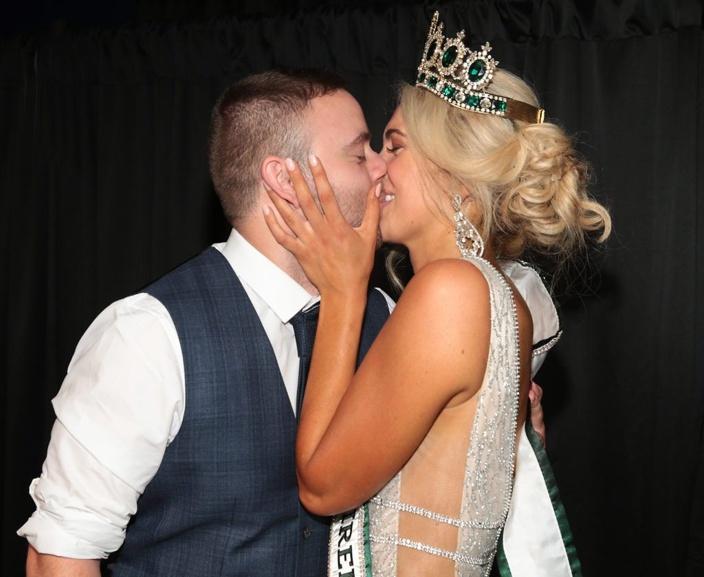 Ryan Coleman congratulates his girlfriend Miss Universe Donegal Grainne Gallanagh who was crowned winner of Miss Universe Ireland 2018 at the final of Miss Universe Ireland 2018 at the Round Room of Dublin's Mansion House. Picture: Brian McEvoy.