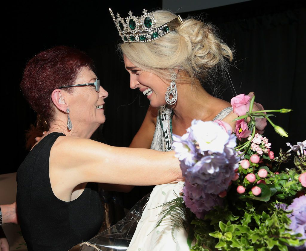Patricia Gallanagh congratulates her daughter Miss Universe Donegal Grainne Gallanagh who was crowned winner of Miss Universe Ireland 2018 at the final of Miss Universe Ireland 2018 at the Round Room of Dublin's Mansion House. Picture: Brian McEvoy.